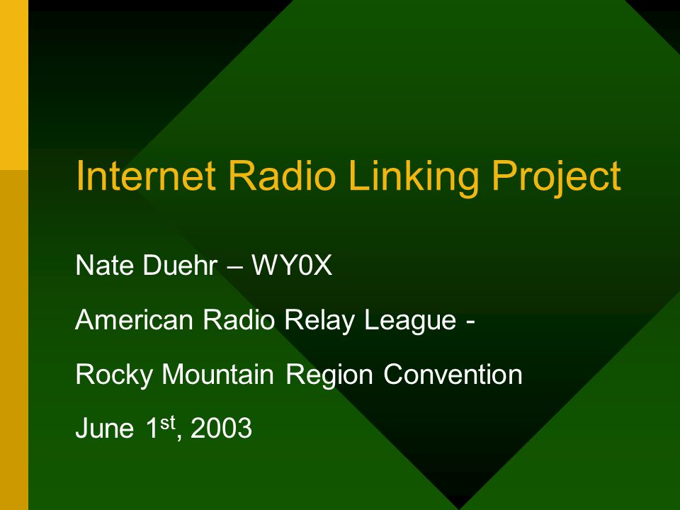 Internet Radio Linking Project Nate Duehr – WY0X American Radio Relay League - Rocky Mountain Region Convention June 1 st, 2003