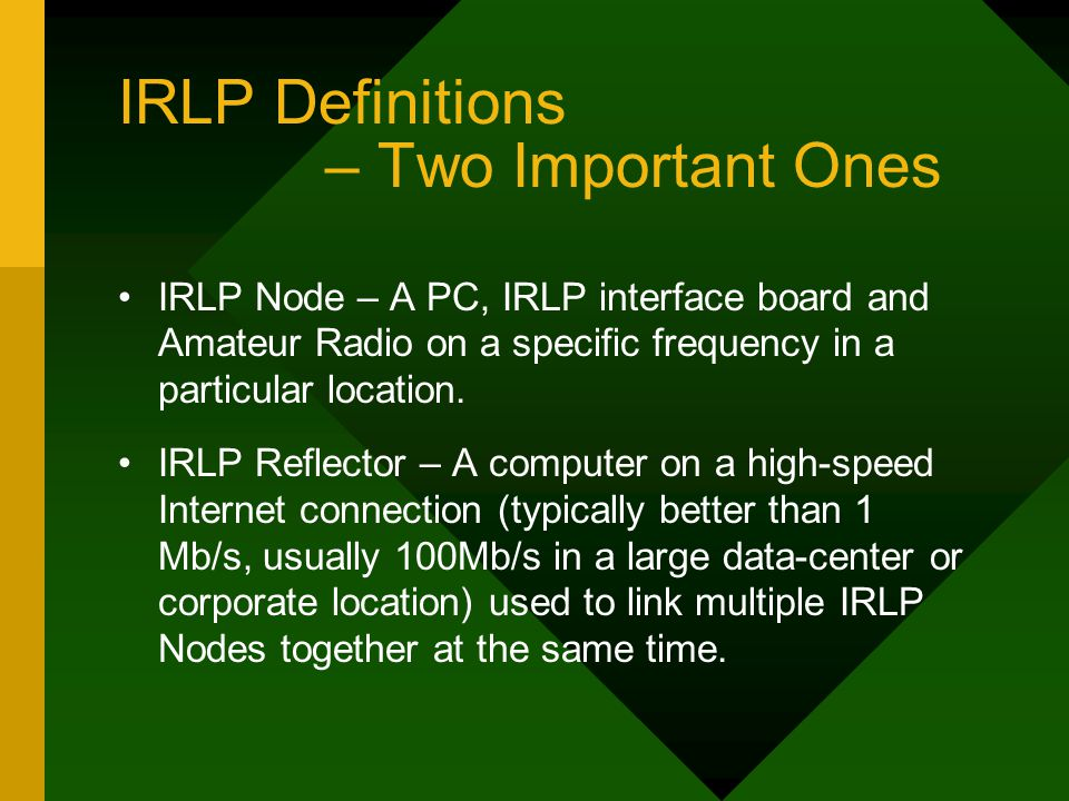 IRLP Definitions – Two Important Ones IRLP Node – A PC, IRLP interface board and Amateur Radio on a specific frequency in a particular location.