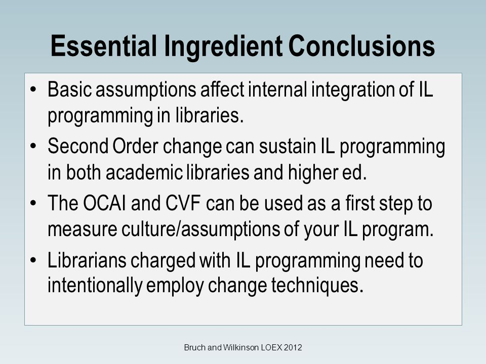 Essential Ingredient Conclusions Basic assumptions affect internal integration of IL programming in libraries.