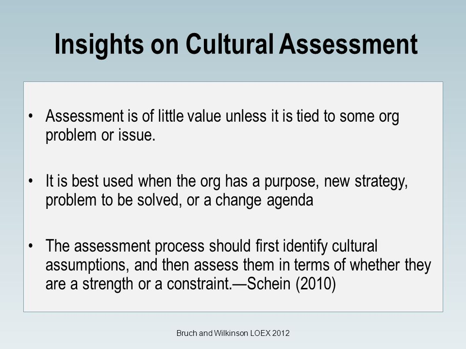 Insights on Cultural Assessment Assessment is of little value unless it is tied to some org problem or issue.