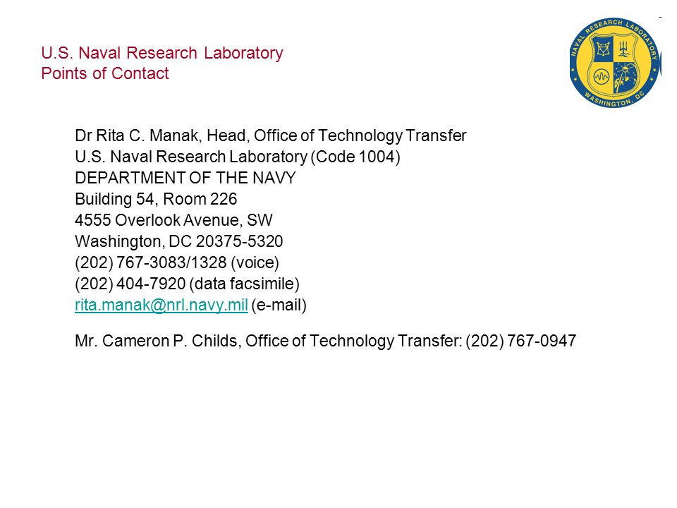 U.S.Naval Research Laboratory Points of Contact Ms.