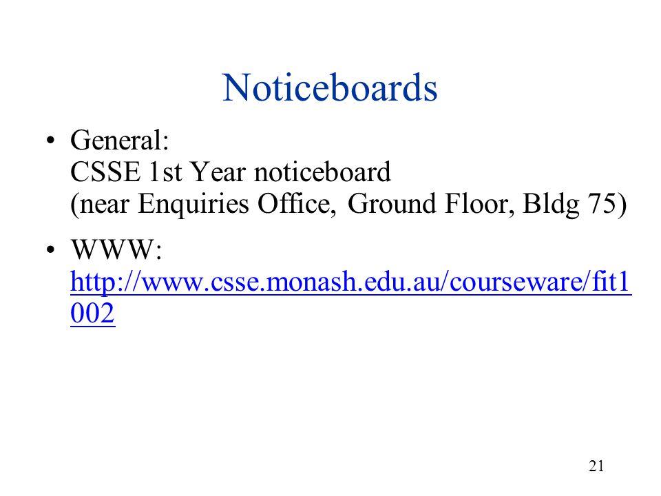 21 General: CSSE 1st Year noticeboard (near Enquiries Office, Ground Floor, Bldg 75) WWW: http://www.csse.monash.edu.au/courseware/fit1 002 http://www.csse.monash.edu.au/courseware/fit1 002 Noticeboards