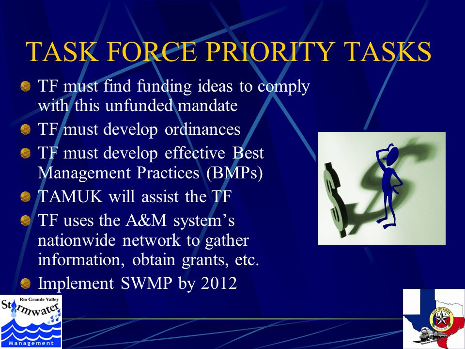 TASK FORCE PRIORITY TASKS TF must find funding ideas to comply with this unfunded mandate TF must develop ordinances TF must develop effective Best Management Practices (BMPs) TAMUK will assist the TF TF uses the A&M system's nationwide network to gather information, obtain grants, etc.