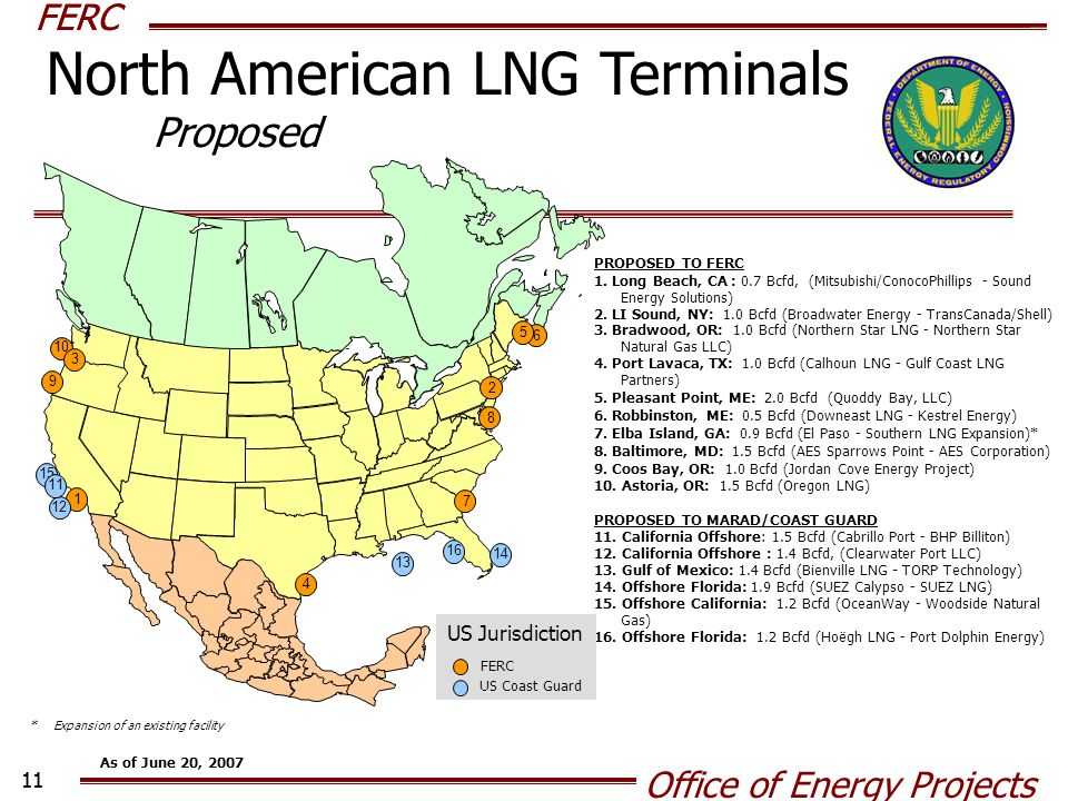 FERC Office of Energy Projects 11 FERC PROPOSED TO FERC 1. Long Beach, CA : 0.7 Bcfd, (Mitsubishi/ConocoPhillips - Sound Energy Solutions) 2. LI Sound