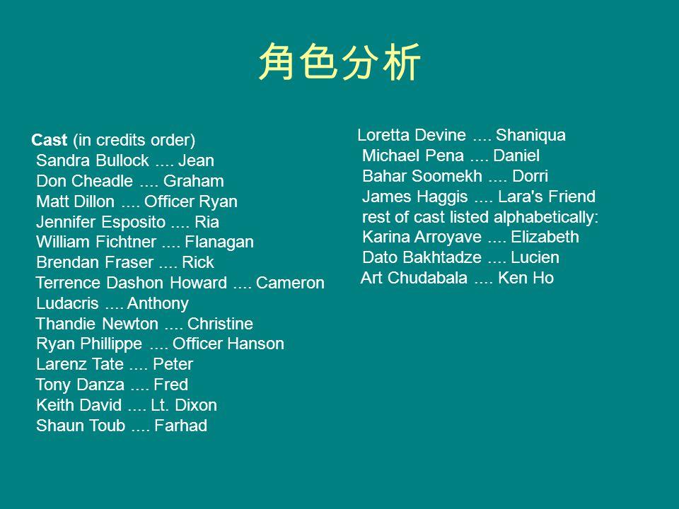 角色分析 Cast (in credits order) Sandra Bullock.... Jean Don Cheadle.... Graham Matt Dillon.... Officer Ryan Jennifer Esposito.... Ria William Fichtner...