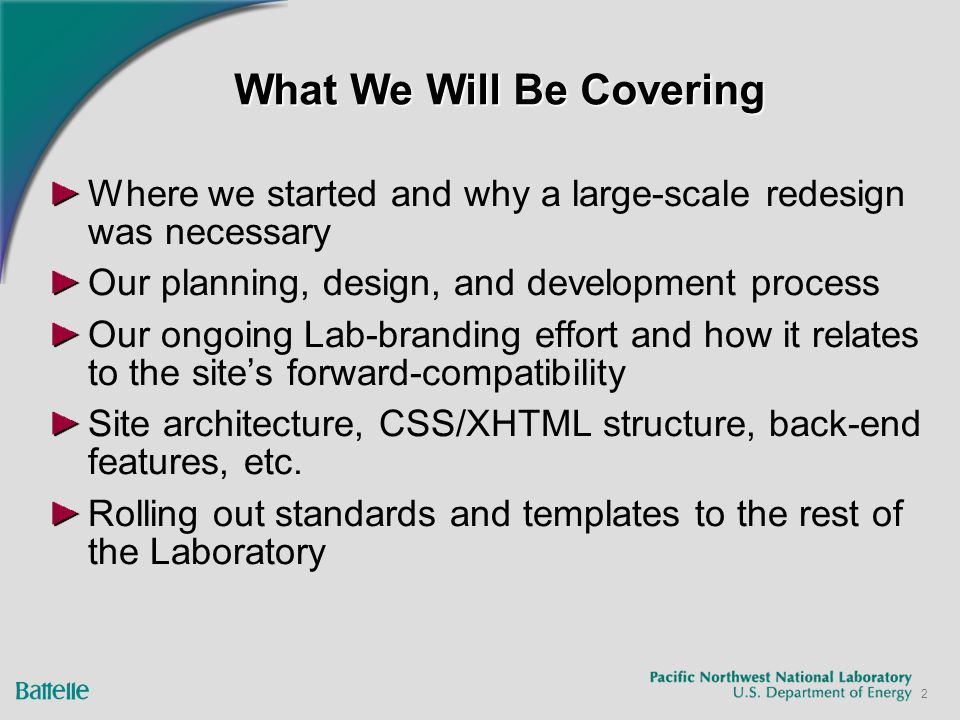 3 Where We Started Outdated design – not significantly updated since 1999 Labor-intensive Singular topic – did not show the Lab's breadth of expertise Did not make good use of our available data sources