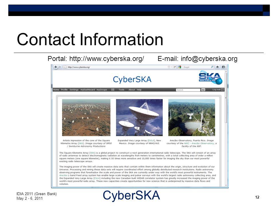CyberSKA Contact Information IDIA 2011 (Green Bank) May 2 - 6, 2011 12 Portal: http://www.cyberska.org/ E-mail: info@cyberska.org