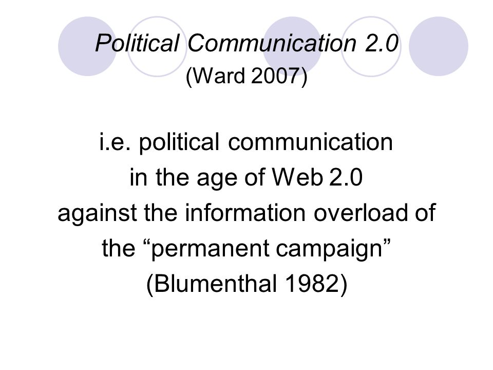 Political Communication 2.0 (Ward 2007) i.e.