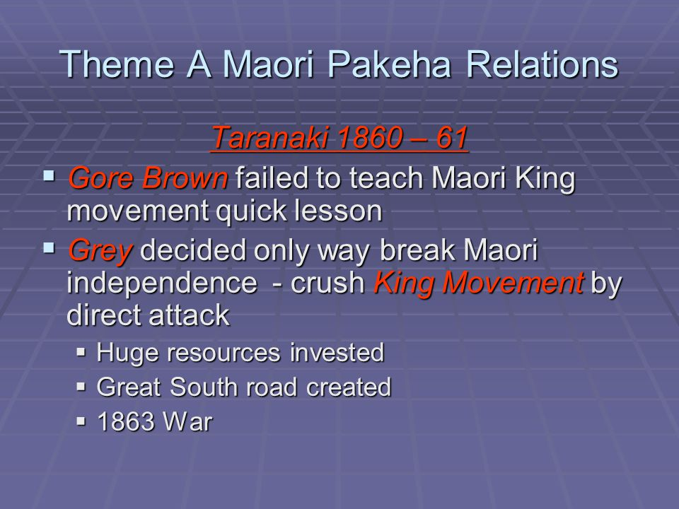 Theme A Maori Pakeha Relations Taranaki 1860 – 61  Gore Brown failed to teach Maori King movement quick lesson  Grey decided only way break Maori independence - crush King Movement by direct attack  Huge resources invested  Great South road created  1863 War