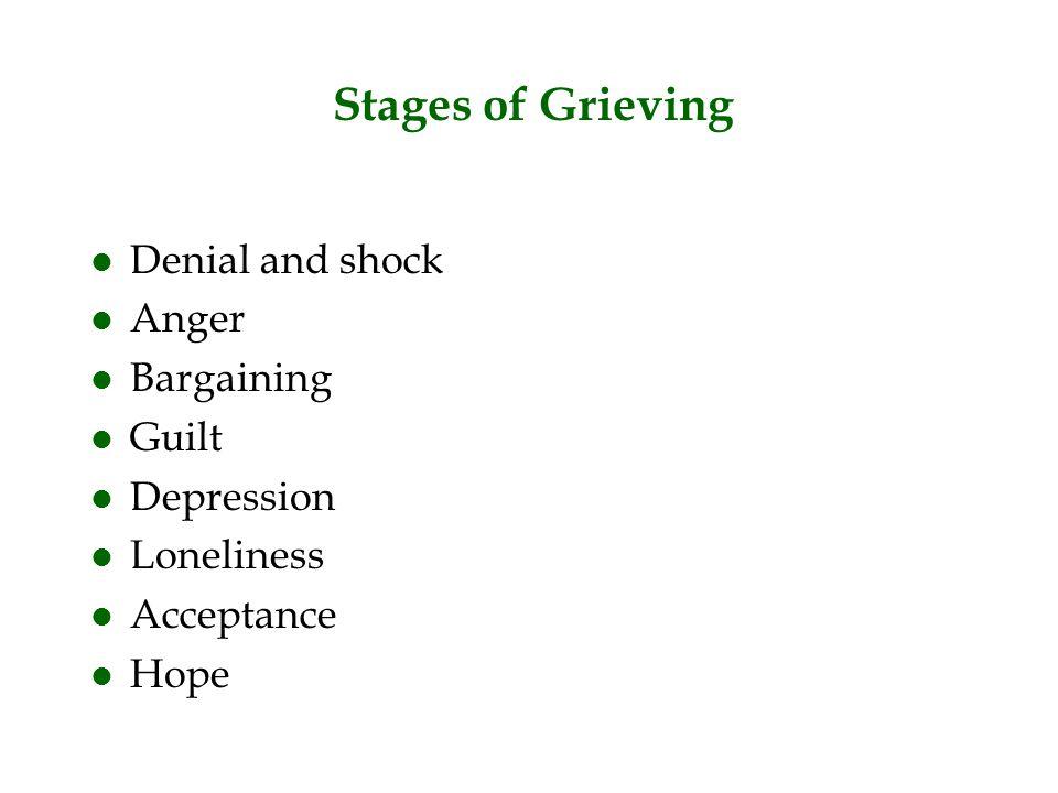 Stages of Grieving l Denial and shock l Anger l Bargaining l Guilt l Depression l Loneliness l Acceptance l Hope