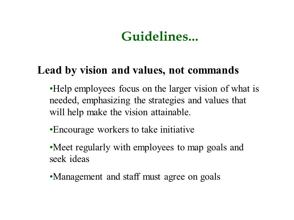 Guidelines... Lead by vision and values, not commands Help employees focus on the larger vision of what is needed, emphasizing the strategies and valu