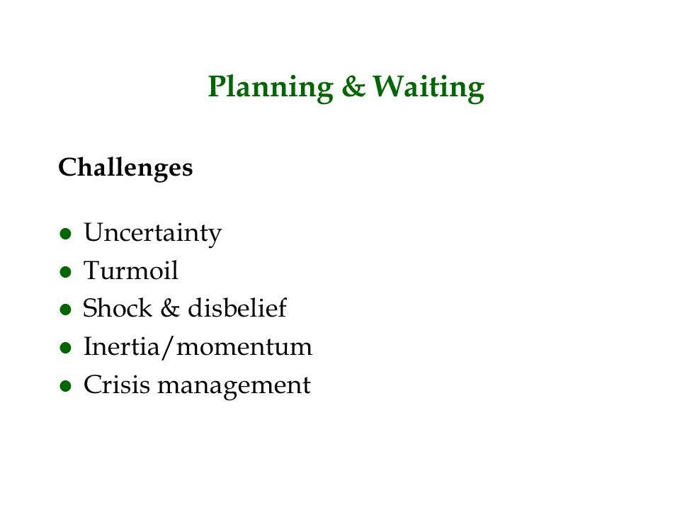 Planning & Waiting Challenges l Uncertainty l Turmoil l Shock & disbelief l Inertia/momentum l Crisis management