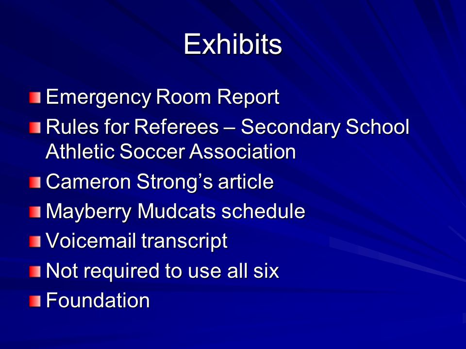Exhibits Emergency Room Report Rules for Referees – Secondary School Athletic Soccer Association Cameron Strong's article Mayberry Mudcats schedule Vo