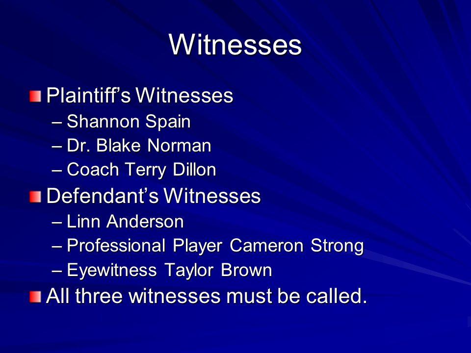 Witnesses Plaintiff's Witnesses –Shannon Spain –Dr. Blake Norman –Coach Terry Dillon Defendant's Witnesses –Linn Anderson –Professional Player Cameron