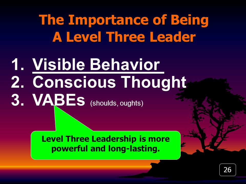 1.Visible Behavior 2.Conscious Thought 3.VABEs (shoulds, oughts) The Importance of Being A Level Three Leader Level Three Leadership is more powerful and long-lasting.