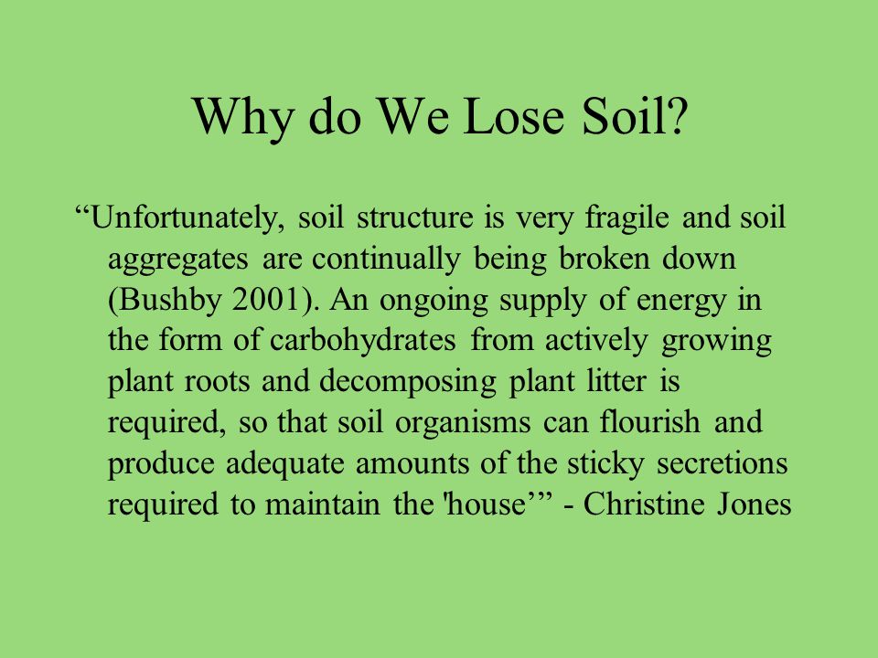 Why do We Lose Soil.