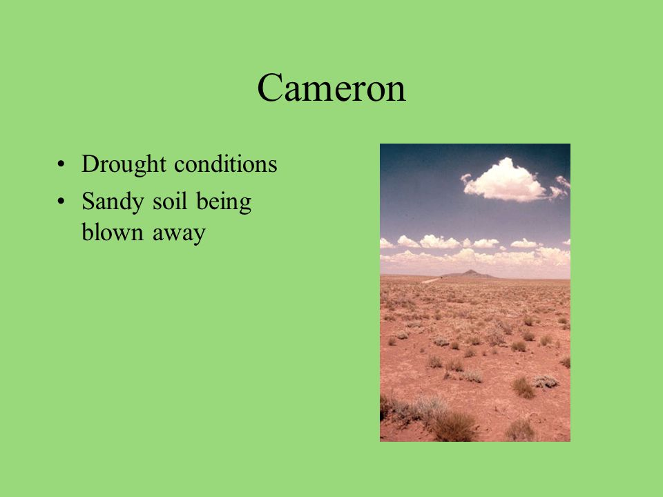 Cameron Drought conditions Sandy soil being blown away