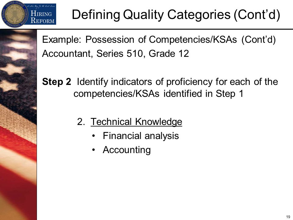 19 Defining Quality Categories (Cont'd) Example: Possession of Competencies/KSAs (Cont'd) Accountant, Series 510, Grade 12 Step 2 Identify indicators of proficiency for each of the competencies/KSAs identified in Step 1 2.