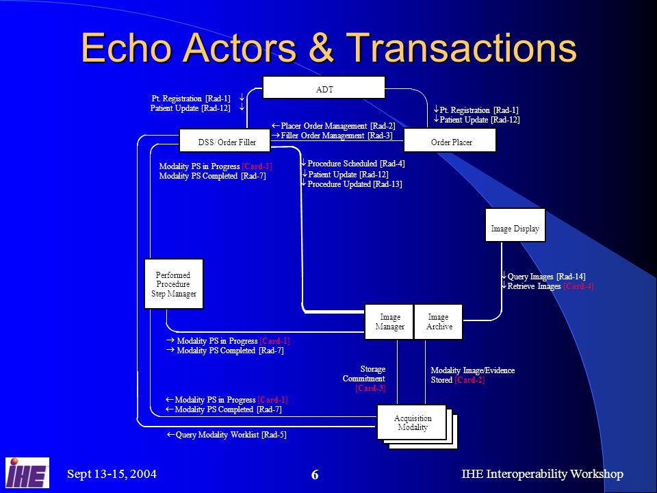 Sept 13-15, 2004IHE Interoperability Workshop 6 Echo Actors & Transactions    Pt.