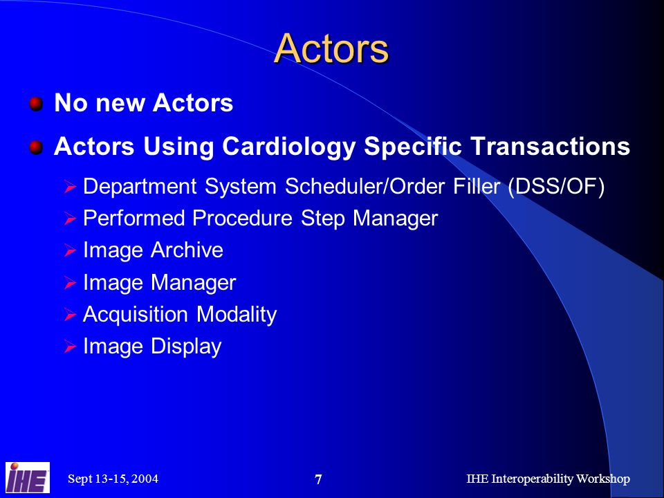 Sept 13-15, 2004IHE Interoperability Workshop 7 Actors No new Actors Actors Using Cardiology Specific Transactions  Department System Scheduler/Order Filler (DSS/OF)  Performed Procedure Step Manager  Image Archive  Image Manager  Acquisition Modality  Image Display