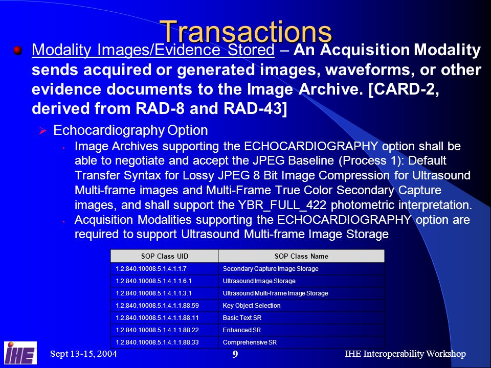 Sept 13-15, 2004IHE Interoperability Workshop 9Transactions Modality Images/Evidence Stored – An Acquisition Modality sends acquired or generated images, waveforms, or other evidence documents to the Image Archive.