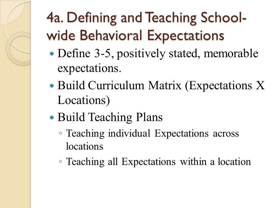 4a. Defining and Teaching School- wide Behavioral Expectations Define 3-5, positively stated, memorable expectations. Build Curriculum Matrix (Expecta