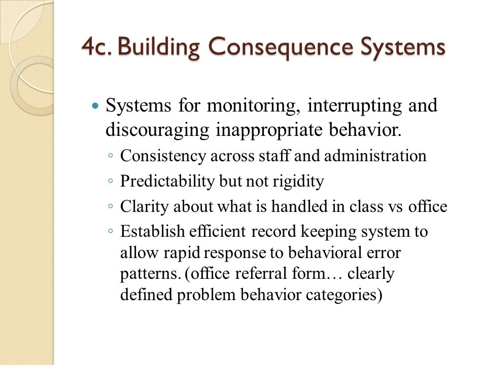 4c. Building Consequence Systems Systems for monitoring, interrupting and discouraging inappropriate behavior. ◦ Consistency across staff and administ
