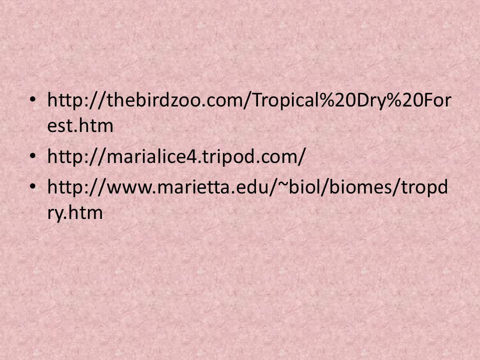 http://thebirdzoo.com/Tropical%20Dry%20For est.htm http://marialice4.tripod.com/ http://www.marietta.edu/~biol/biomes/tropd ry.htm