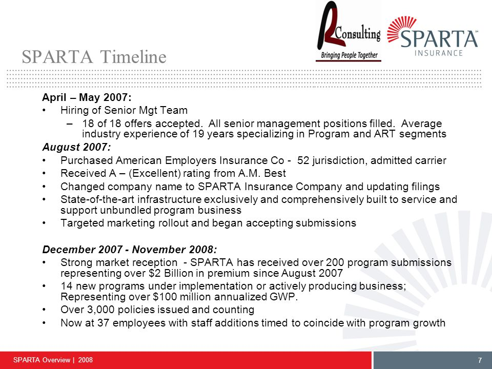 SPARTA Overview | 2008 8 SPARTA is uniquely qualified to meet the challenging needs of today's Specialty & ART Program Market Experienced management – the expertise to execute Breadth of product offering along the entire continuum of risk sharing Customized product capability, structure flexibility, unbundled services Countrywide, admitted company rated A – (Excellent) by A.M.