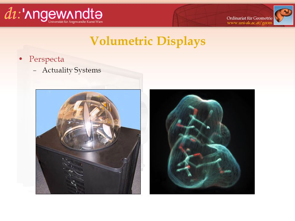 Volumetric Displays Perspecta –Actuality Systems