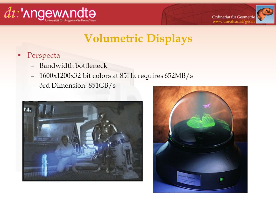 Volumetric Displays Perspecta –Bandwidth bottleneck –1600x1200x32 bit colors at 85Hz requires 652MB/s –3rd Dimension: 851GB/s