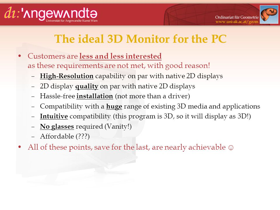 The ideal 3D Monitor for the PC Customers are less and less interested as these requirements are not met, with good reason.