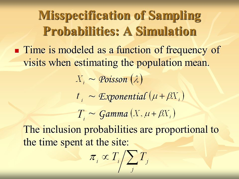Misspecification of Sampling Probabilities: A Simulation Time is modeled as a function of frequency of visits when estimating the population mean.
