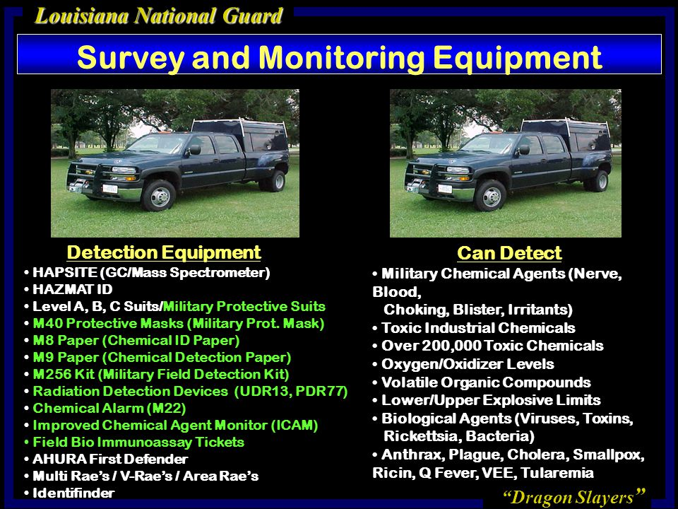 Dragon Slayers Louisiana National Guard Survey and Monitoring Equipment Detection Equipment HAPSITE (GC/Mass Spectrometer) HAZMAT ID Level A, B, C Suits/Military Protective Suits M40 Protective Masks (Military Prot.