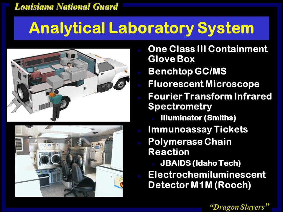 Dragon Slayers Louisiana National Guard Analytical Laboratory System l One Class III Containment Glove Box l Benchtop GC/MS l Fluorescent Microscope l Fourier Transform Infrared Spectrometry l Illuminator (Smiths) l Immunoassay Tickets l Polymerase Chain Reaction l JBAIDS (Idaho Tech) l Electrochemiluminescent Detector M1M (Rooch)