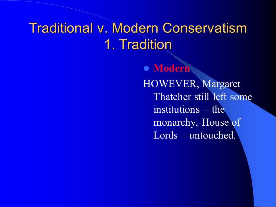Traditional v. Modern Conservatism 1.