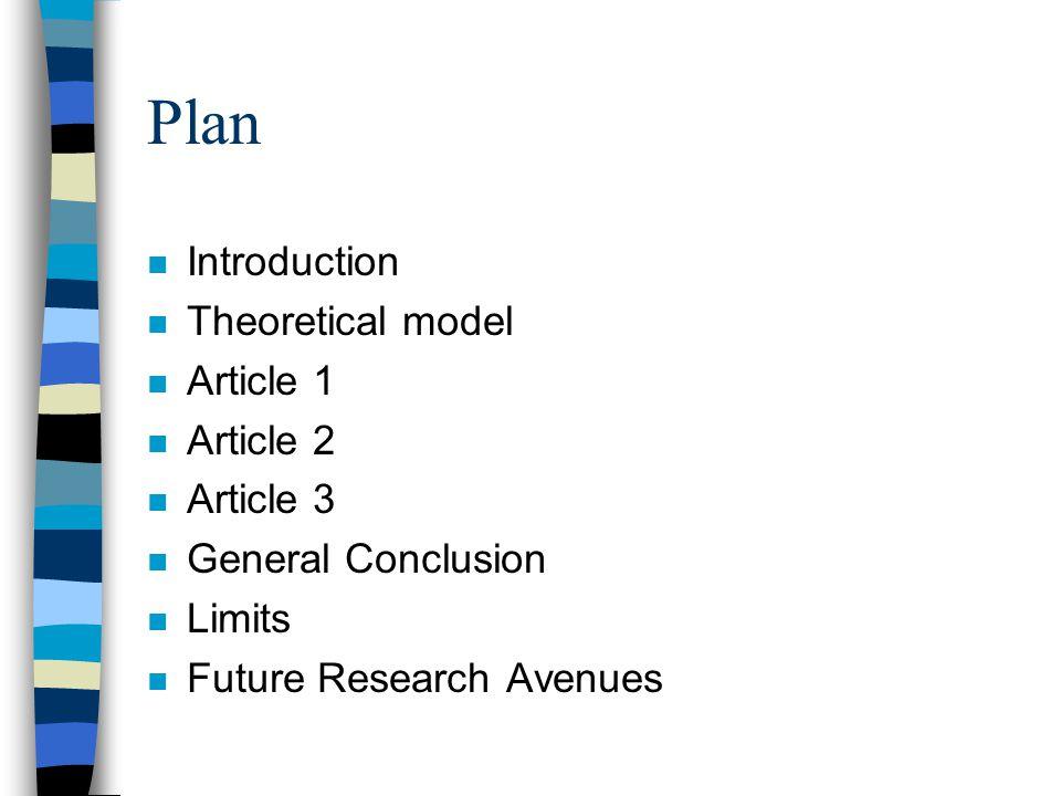 Plan n Introduction n Theoretical model n Article 1 n Article 2 n Article 3 n General Conclusion n Limits n Future Research Avenues