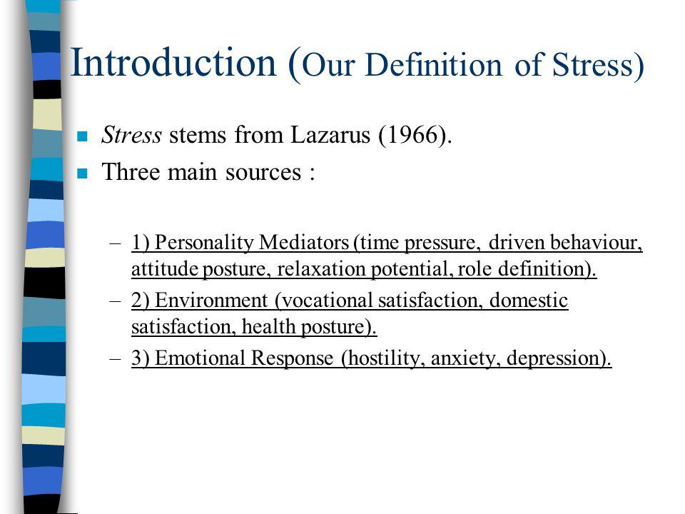 Article 2, Results DSP (stress), 3 factors : 1.Personal Mediators (time & future) 2.