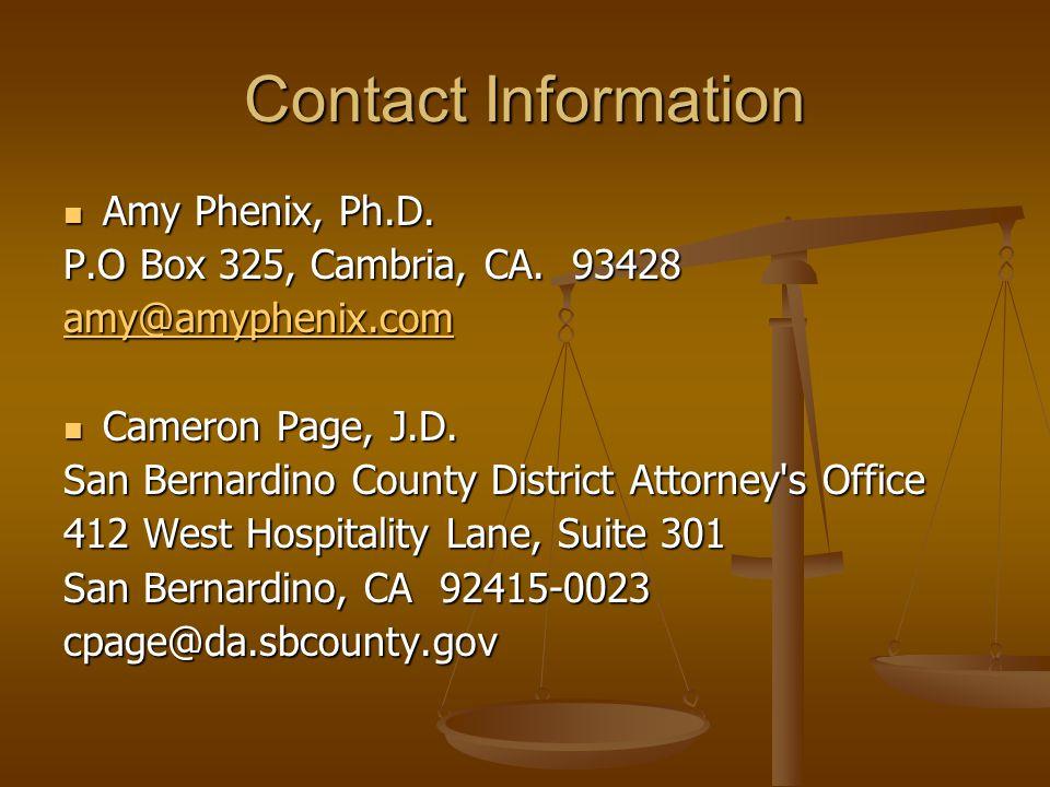 Contact Information Amy Phenix, Ph.D. Amy Phenix, Ph.D.