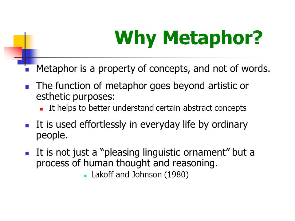 Why Metaphor. Metaphor is a property of concepts, and not of words.