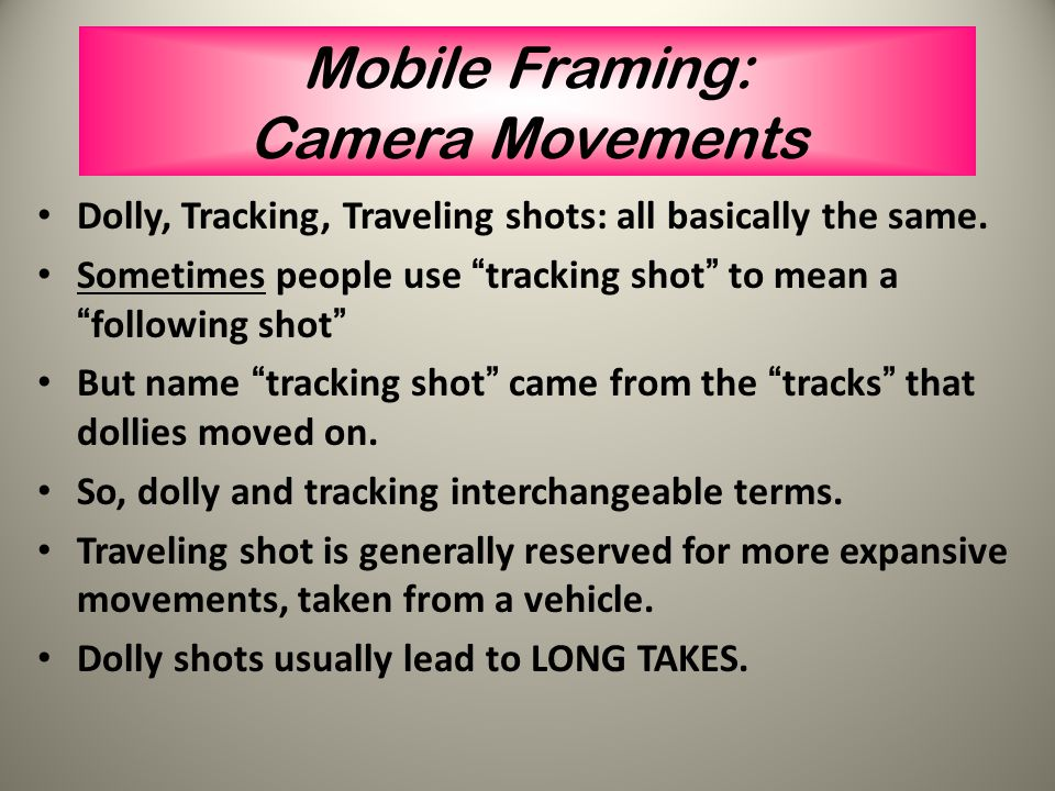 "Mobile Framing: Camera Movements Pans = rotates horizontally, side to side (""camera rotates on vertical axis"") Tilts = vertical pivot/rotation, up and"
