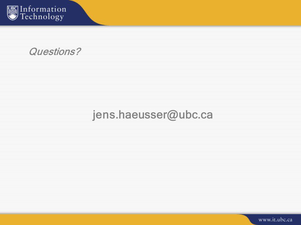 Questions? jens.haeusser@ubc.ca