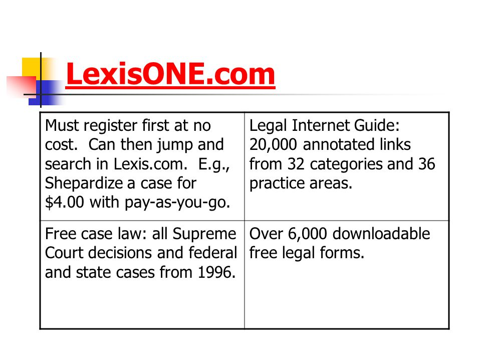 LexisONE.com Must register first at no cost.Can then jump and search in Lexis.com.
