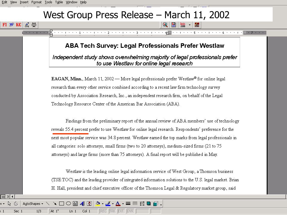 West Group Press Release – March 11, 2002