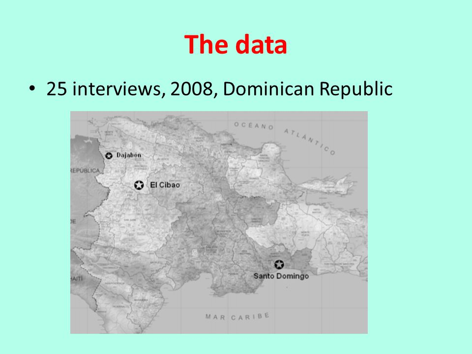 The data 25 interviews, 2008, Dominican Republic