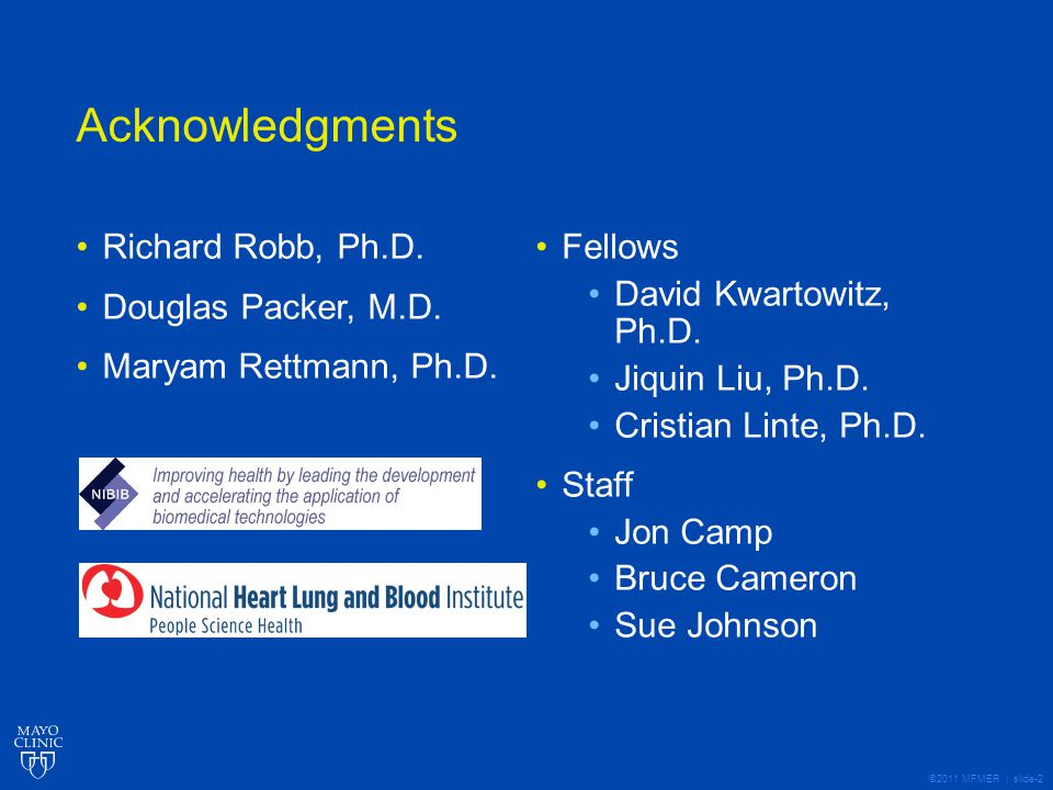©2011 MFMER | slide-2 Acknowledgments Richard Robb, Ph.D.