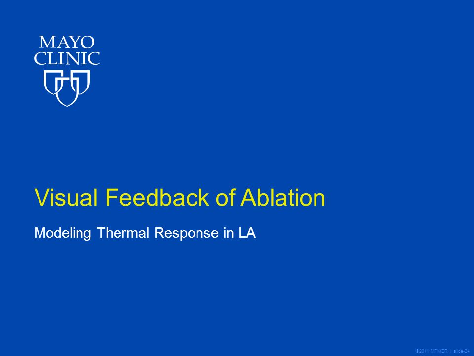 ©2011 MFMER | slide-24 Visual Feedback of Ablation Modeling Thermal Response in LA