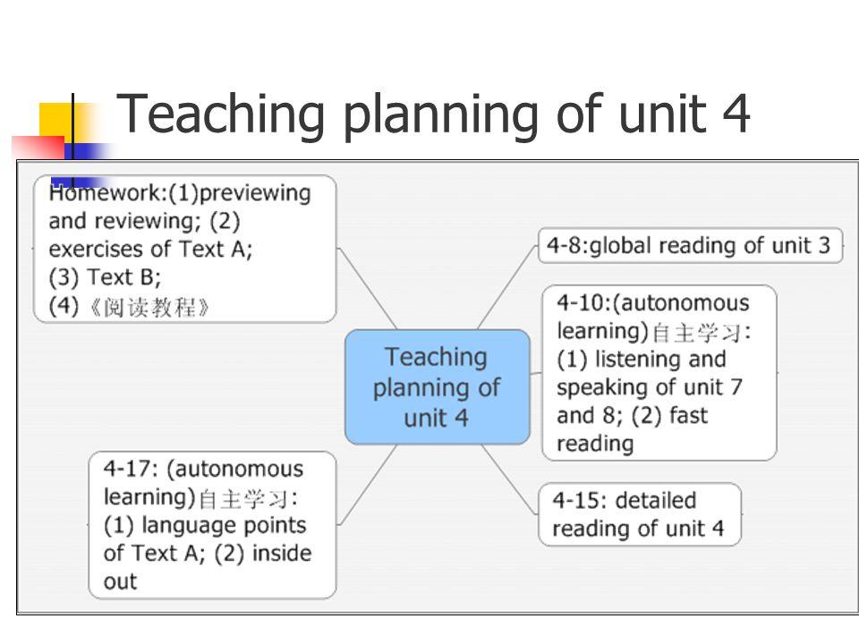 Teaching planning of unit 4
