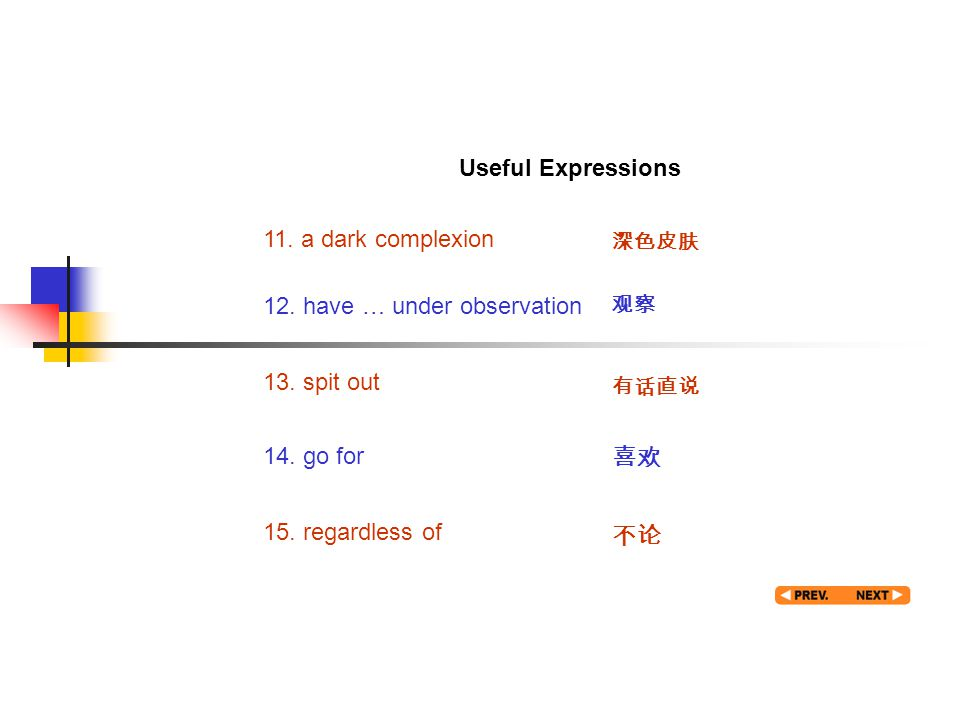 Useful expression 3 11. a dark complexion 深色皮肤 12. have … under observation 观察 13. spit out 有话直说 14. go for 喜欢 15. regardless of 不论 Useful Expressions