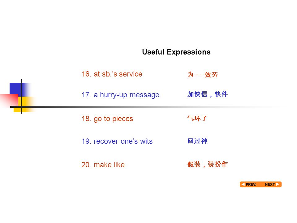 Useful expression 4 16. at sb.'s service 为 …… 效劳 17. a hurry-up message 加快信,快件 18. go to pieces 气坏了 19. recover one's wits 回过神 20. make like 假装,装扮作 Us